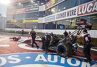 Nov 11, 2016; Pomona, CA, USA; Crew members with NHRA top fuel driver Steve Torrence during qualifying for the Auto Club Finals at Auto Club Raceway at Pomona. Mandatory Credit: Mark J. Rebilas-USA TODAY Sports