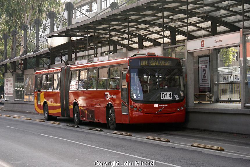 New Metrobus that runs along Avenida Insurgentes  stopping at the Reforma station, Mexico City.