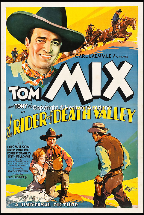 BNPS.co.uk (01202 558833)<br /> Pic: HeritageAuctions/BNPS<br /> <br /> The Rider of Death Valley (Universal, 1932) estimate $4,000.<br /> <br /> A lucky family is set to make a staggering &pound;160,000 after a hoard of old film posters they stumbled upon under the floor of their new home turned out to be 'lost' Hollywood relics.<br /> <br /> The prized stash of 17 perfectly preserved posters was discovered by Bob and Dylan Basta as they tore up the lino in the house their dad Robert was renovating. <br /> <br /> After calling in experts from leading auctioneers Heritage they found that among their treasure trove were five never-seen-before posters from the Golden Age of Hollywood.<br /> <br /> The collection is now tipped to fetch a whopping $240,000 - around &pound;160,000 - at Heritage Auctions in Dallas, Texas.