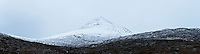 Winter view towards a snow covered Clisham, Isle of Harris, Outer Hebrides, Scotland