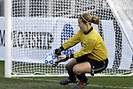 05 December 2004: Notre Dame's Erika Bohn (center) saves a penalty kick attempt by Kim Devine (not shown) in the penalty shootout. Notre Dame defeated UCLA 4-3 on penalty kicks after the game ended in a 1-1 overtime tie at SAS Stadium in Cary, NC in the championship match in the 2004 NCAA Division I Women's College Cup...