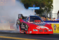 Nov 7, 2013; Pomona, CA, USA; NHRA funny car driver Gary Densham during qualifying for the Auto Club Finals at Auto Club Raceway at Pomona. Mandatory Credit: Mark J. Rebilas-