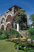 Guest rooms at the Posada del Tepozeteco in Tepoztlan, Morelos, Mexico. Tepoztlan has been designated a pueblo magico or magical town.