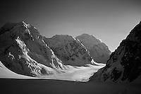 The northwest fork of the Tokositna Glacier below Mount Hunter, Alaska Range.