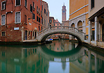 A view of Rio de l'Albero, a canal in Venice close to the Fenice theatre, with the church of Santo Stefano and its bell tower in the background. Taken on a misty morning of January, this is stitched from five vertical frames.