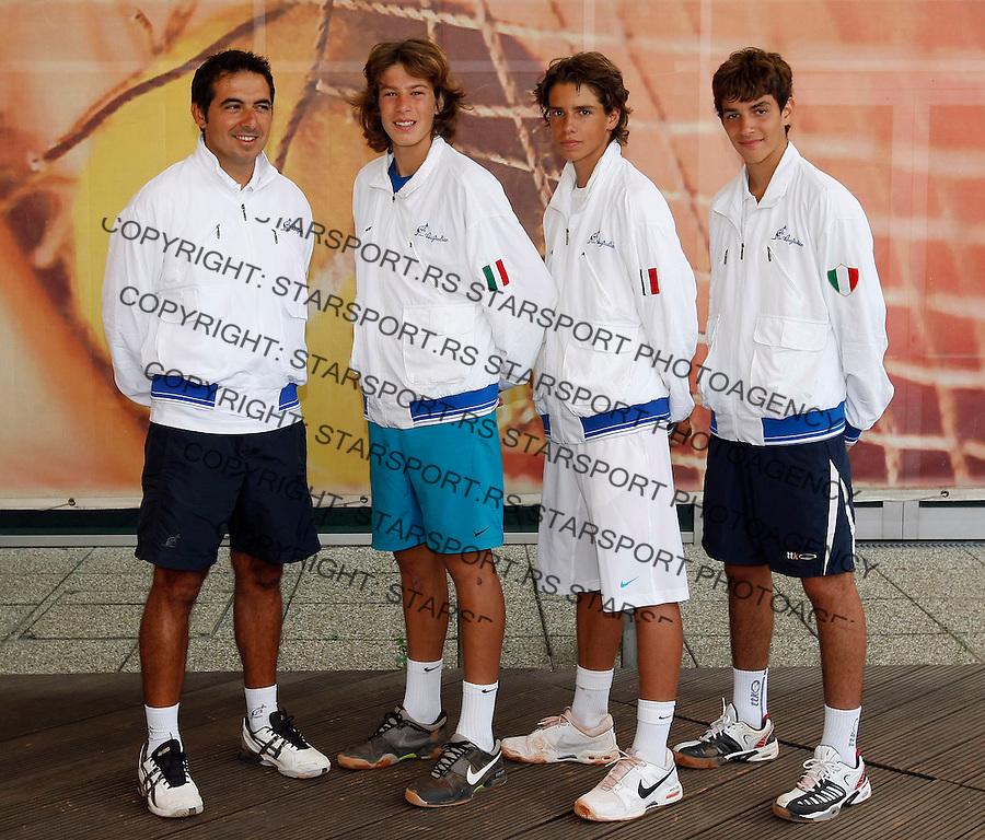 Tenis, World Championship U-14.Official team photo.Italy boys   team.from left,  Giovanni Paolisso, Gianluigi Quinzi, Filippo Baldi.Prostejov, 03.08.2010..foto: Srdjan Stevanovic/Starsportphoto ©