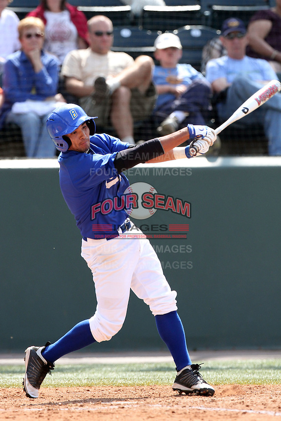 Andrew Letourneau #1 of the Cal. St. Bakersfield Roadrunners bats against the UCLA Bruins at Jackie Robinson Stadium in Los Angeles,California on May 14, 2011. Photo by Larry Goren/Four Seam Images