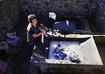 A woman washes clothes in stone washers are done by hand in most rural villages on Terceira, Azores. Far out in the Atlantic Ocean, some 850 miles off the western coast of Lisbon, Portugal lies the 425-mile long archipelago of the Azores. (Jim Bryant Photo).....