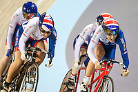 Picture by Alex Whitehead/SWpix.com - 05/03/2017 - Cycling - UCI Para-cycling Track World Championships - Velo Sports Center, Los Angeles, USA - <br /> Great Britain's Aileen McGlynn (piloted by Louise Haston) and Alison Patrick (piloted by Helen Scott).