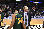 MILWAUKEE, WI - MARCH 16:  Vermont Catamounts Head Coach John Becker consoles Vermont Catamounts guard Dre Wills (24) after their loss to Purdue during the 2017 NCAA Men's Basketball Tournament held at BMO Harris Bradley Center on March 16, 2017 in Milwaukee, Wisconsin. (Photo by Jamie Schwaberow/NCAA Photos via Getty Images)
