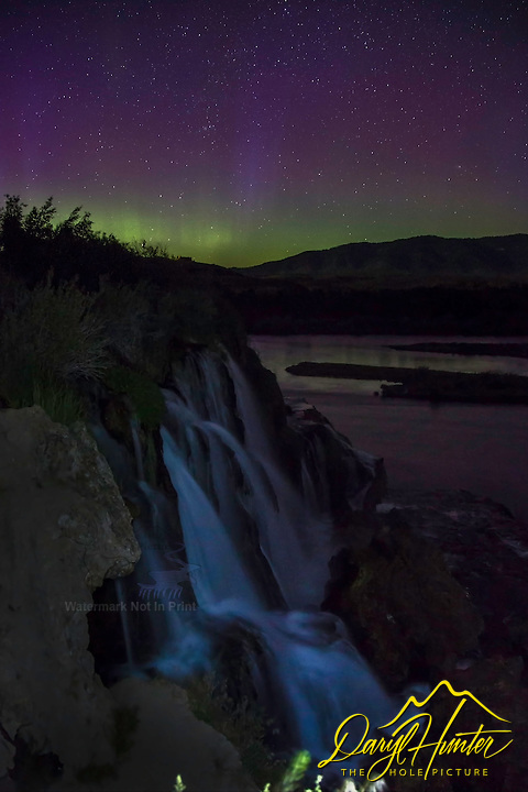 Northern Lights over Fall Creek Falls in Swan Valley Idaho. Fall Creek Falls dumps into the Snake River in a very pretty way.  I had been waiting for this day for years, I'm glad I was ready when it arrived
