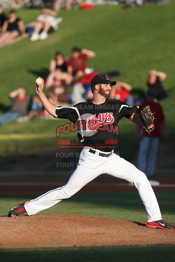 David Holman #29 of the High Desert Mavericks pitches against the Visalia Rawhide at Heritage Field on July 19, 2014 in Adelanto, California. Visalia defeated High Desert, 10-9. (Larry Goren/Four Seam Images)