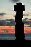 A moai with a topknot at sunset -  Ahu Tahai, Easter Island