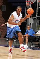 PF Samardo Samuels (Newark, NJ / St. Benedictís) moves the ball during the NBA Top 100 Camp held Thursday June 21, 2007 at the John Paul Jones arena in Charlottesville, Va. (Photo/Andrew Shurtleff)