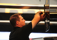 May 5, 2012; Commerce, GA, USA: NHRA crew member for top fuel dragster driver Morgan Lucas during qualifying for the Southern Nationals at Atlanta Dragway. Mandatory Credit: Mark J. Rebilas-