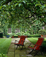 A pair of wooden garden chairs with padded orange cushions beneath an ancient mulberry tree
