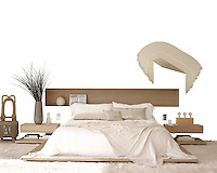 The custom-made bleached walnut bed and side tables appear to float above the floor of the master bedroom; the artwork is by Derrick Velasques, and the rug is goatskin