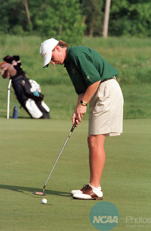 15 May 1998:  Tracey Gage of Methodist University putts her ball on the 1st Hole of the NCAA women's division 2 and 3 finals,  Gage went on to place second in the tournament.  Methodist University went on to take first in the tournament.  The tournament was played at The Meadows Golf Course in Allendale, MI.  Fred Kleiboer/NCAA Photo