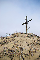 Crucifix monument among sand dunes near Nida on the Curonian Spit