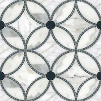 Esferas, a waterjet and hand-cut stone mosaic, shown in honed Calacatta, polished Bardiglio and Power Gray glass, is part of the Parterre Collection by Sara Baldwin and Paul Schatz for New Ravenna.