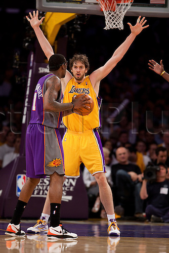 17 May 2010: Forward Pau Gasol of the Los Angeles Lakers defends the basket from Amar'e Stoudemire of the Phoenix Suns during the second half of the Lakers 128-107 victory over the Suns in Game 1 of the Western Conference Finals at the STAPLES Center in Los Angeles, CA.