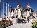 The Fairmont Château Laurier, landmark hotel in downtown Ottawa during tulip festival. Ontario, Canada.