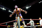 Lucha Libre AAA wrestler Silver King taunts the crowd at a match in Sacramento, CA March 28, 2009.