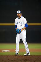 Dunedin Blue Jays relief pitcher T.J. Zeuch (35) gets ready to deliver a pitch during a game against the St. Lucie Mets on April 20, 2017 at Florida Auto Exchange Stadium in Dunedin, Florida.  Dunedin defeated St. Lucie 6-4.  (Mike Janes/Four Seam Images)