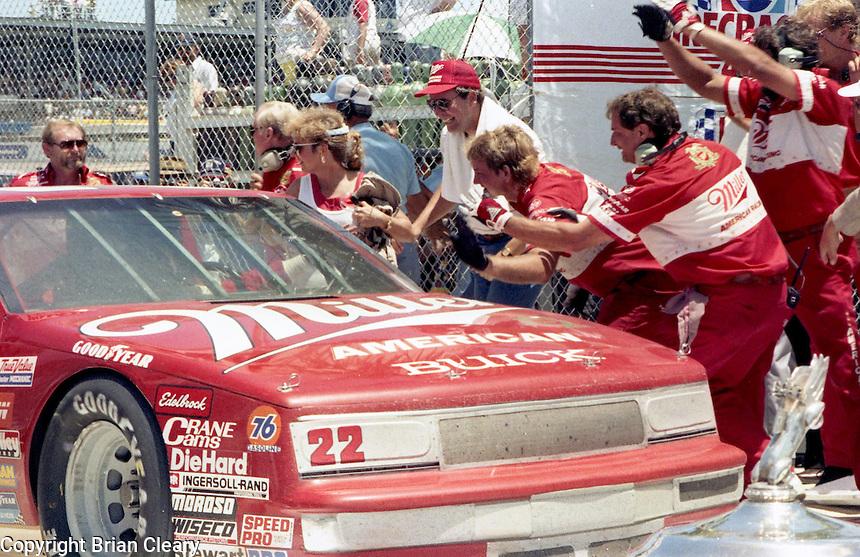 Bobby Allison arrives victory lane Pepsi Firecracker 400 Daytona International Speedway Daytona Beach FL July 1987 (Photo by Brian Cleary/www.bcpix.com)