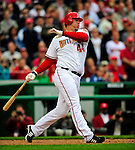 13 April 2009: Washington Nationals' outfielder Adam Dunn in action against the Philadelphia Phillies during the Nats' Home Opener at Nationals Park in Washington, DC. The Nats fell short in their 9th inning rally, losing 9-8, and marking their 7th consecutive loss of the 2009 season. Mandatory Credit: Ed Wolfstein Photo