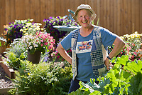 Portrait of woman gardening in Fairbanks, Alaska.