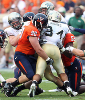Sept. 3, 2011 - Charlottesville, Virginia - USA; Virginia Cavaliers defensive end Jake Snyder (90) makes a tackle during an NCAA football game against William & Mary at Scott Stadium. Virginia won 40-3. (Credit Image: © Andrew Shurtleff