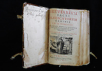 Breviary of St Agnes of Jesus, 1602-34, published 1622, at the time of the founding of the monastery, in the Monastere Sainte Catherine de Sienne, or Monastery of St Catherine of Siena, Langeac, Haute Loire, France. St Agnes of Jesus, or St Agnes of Langeac, founded the monastery in 1623, and was prioress from 1627. Picture by Manuel Cohen