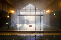 Hoshinoya Karuizawa luxury resort at the foot of Mt. Asam. MIneral baths and spa.