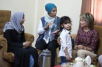Queen Mathilde of Belgium during a visit of refugee family's home in Mafraq - Jordan