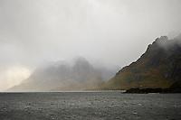 Storymy weather over Raftsundet straight between Lofoten and Vesterålen islands, Norway