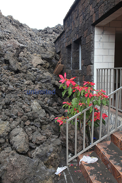 Aa lava flow from Fogo Volcano destroying a house in Portela, Cape Verde