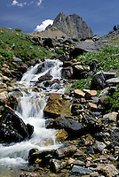 Grand Teton National Park, Wyoming, WY, Water flows over the rocks in Alaska Basin in Grand Teton National Park.