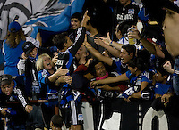 Chris Wondolowski of Earthquakes celebrates with the fans after scoring a goal during the second half of the game against Kansas City at Buck Shaw Stadium in Santa Clara. California on October 1st, 2011.  San Jose Earthquakes tied Sporting Kansas City, 1-1.