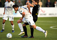 Darren White (9, Auckland) and Andy Bevin during the Oceania Football Championship final (second leg) football match between Team Wellington and Auckland City FC at David Farrington Park in Wellington, New Zealand on Sunday, 7 May 2017. Photo: Dave Lintott / lintottphoto.co.nz