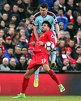 Liverpool's Emre Can battles with Burnley's Michael Keane<br /> <br /> Photographer Rich Linley/CameraSport<br /> <br /> The Premier League - Liverpool v Burnley - Sunday 12 March 2017 - Anfield - Liverpool<br /> <br /> World Copyright &copy; 2017 CameraSport. All rights reserved. 43 Linden Ave. Countesthorpe. Leicester. England. LE8 5PG - Tel: +44 (0) 116 277 4147 - admin@camerasport.com - www.camerasport.com