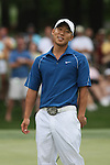 Anthony Kim reacts to his putt during the 2009 Quail Hollow Championship