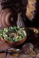 """Europe/France/Midi-Pyrénées/81/Tarn/Giroussens : Salade au """"Foie Salé"""" - Recette de Pierrette Canonica du restaurant """"L'Echauguette"""""""