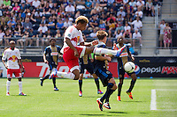 Juan Agudelo (17) of the New York Red Bulls takes a shot. The New York Red Bulls defeated the Philadelphia Union  3-2 during a Major League Soccer (MLS) match at PPL Park in Chester, PA, on May 13, 2012.