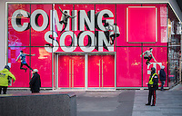 The site of a soon-to-be-opened T-Mobile USA store in Times Square in New York on Tuesday, January 5, 2016. (© Richard B. Levine)