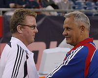 New England Revolution head coach Steve Nicol greets FC Dallas head coach Schellas Hyndman before the game.  The New England Revolution drew FC Dallas 1-1, at Gillette Stadium on May 1, 2010