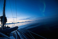 August northern lights seen from sea off east coast of Greenland