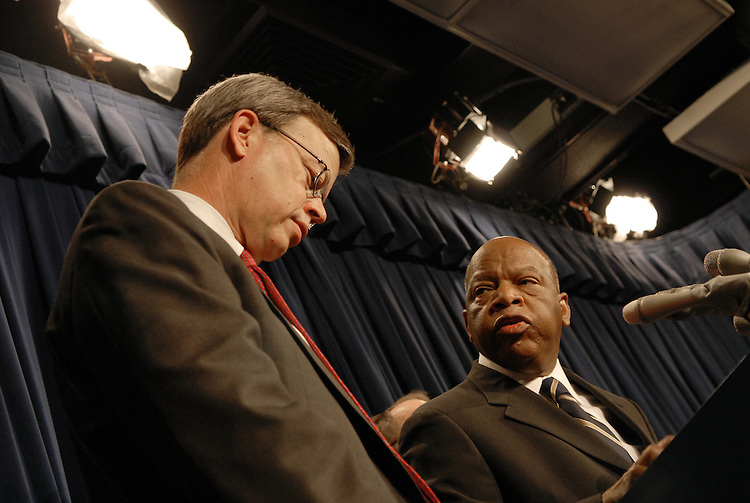 Sen. James Talent, R-Mo., and Rep. John Lewis, D-Ga. during a news conference to unveil a plan to create two new offices in the Justice Department to focus on investigating and prosecuting unsolved civil rights-era murders like the Emmett Till case...