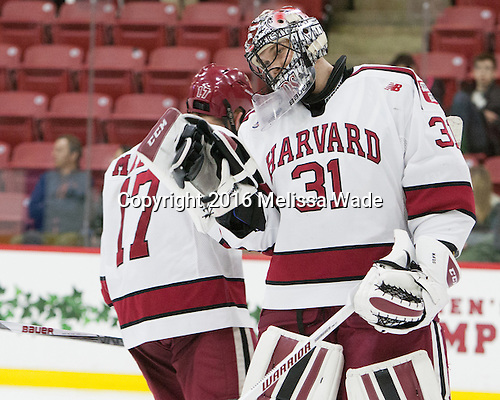 (Malone) Merrick Madsen (Harvard - 31) - The Harvard University Crimson defeated the visiting Rensselaer Polytechnic Institute Engineers 5-2 in game 1 of their ECAC quarterfinal series on Friday, March 11, 2016, at Bright-Landry Hockey Center in Boston, Massachusetts.