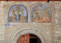 Two frescoes, possibly of saints, above the arched doorway to the nave of the Church of St Spiridon, 18th - 19th centuries, completed 1864, in the Gorica quarter of Berat, South-Central Albania, capital of the District of Berat and the County of Berat. The church is a 3-nave basilica with two lower side naves and a bell tower. Picture by Manuel Cohen